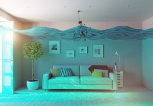 Living room under water